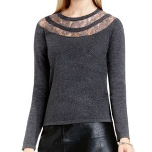 B2G1 Vince Camuto Gray Lace Panel Neckline Sweater